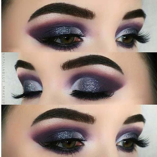 Purple Glitter Smokey Eye Look