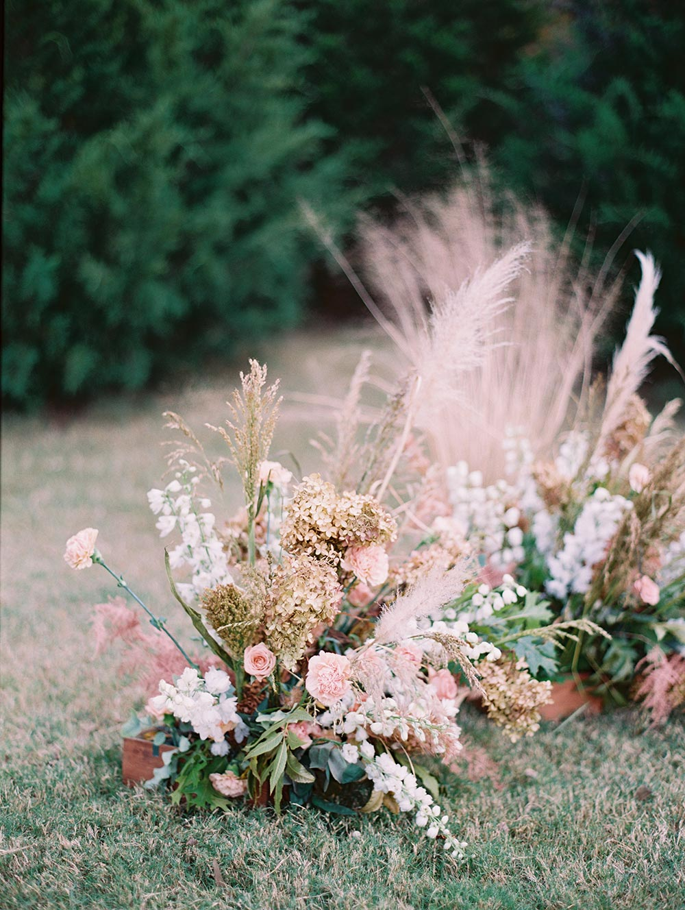pampas grass wedding ceremony backdrop
