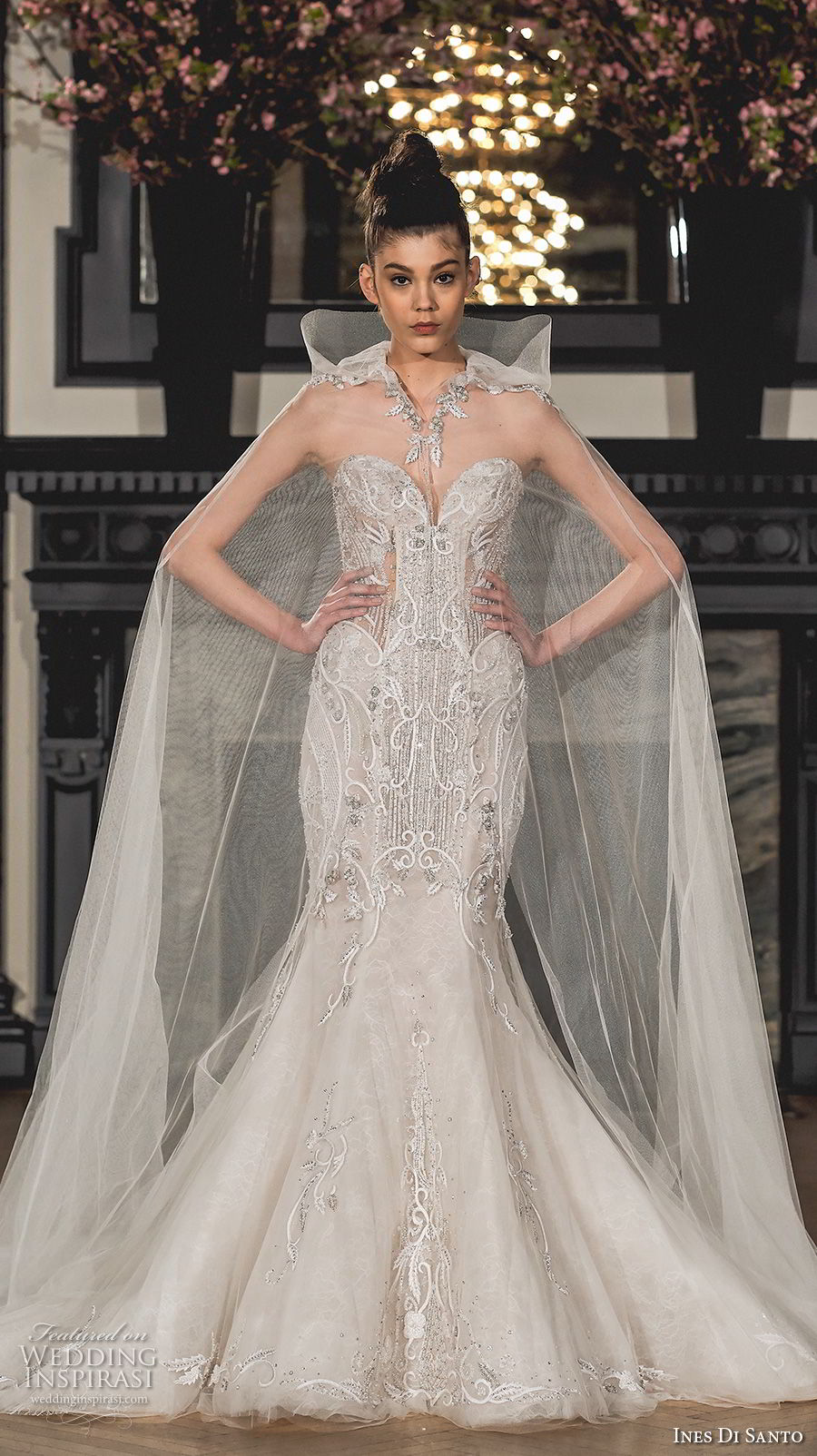 ines di santo spring 2019 bridal strapless sweetheart neckline full embellishment elegant mermaid wedding dress chapel train (2) mv