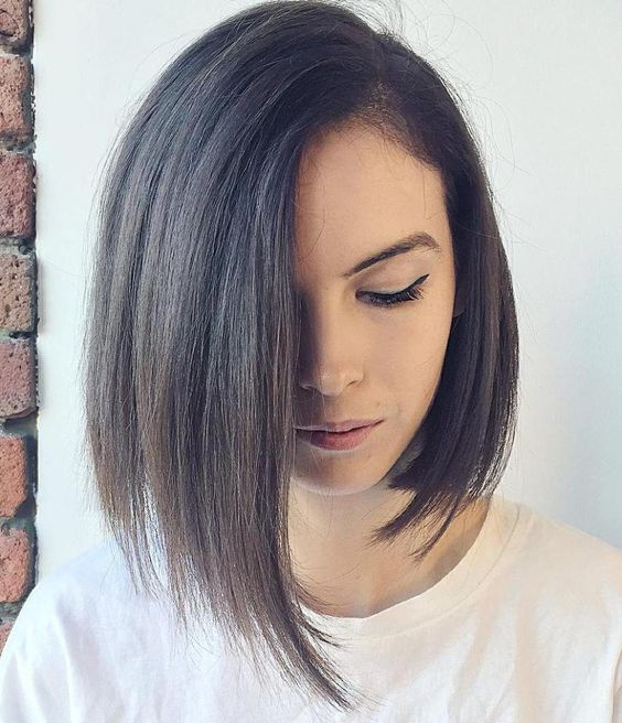 asymmetrical medium bob worn with a side part is a chic and timeless idea