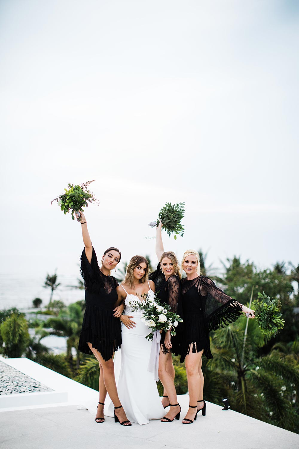 black fringe bridesmaid dresses and spaghetti strap bridal gown
