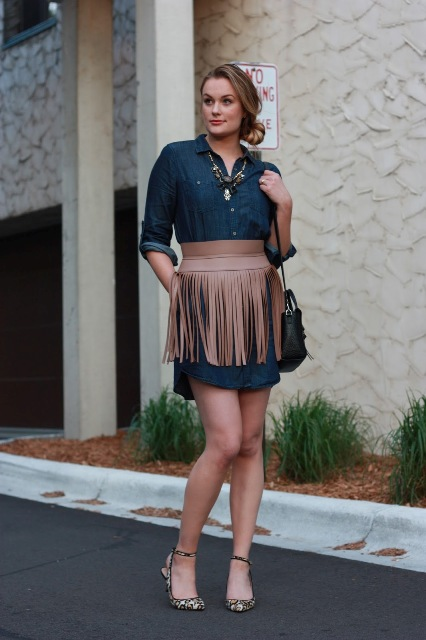 With shirtdress, black bag and printed shoes
