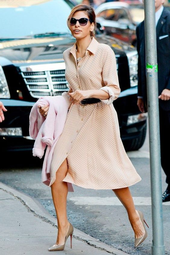 a blush polka dot shirtdress, grey shoes and a black belt for a retro feel