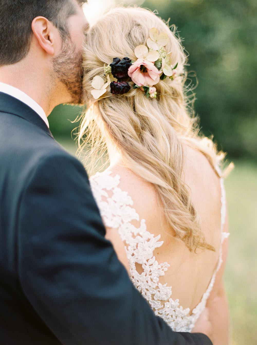 floral bridal hairpiece long hairstyle