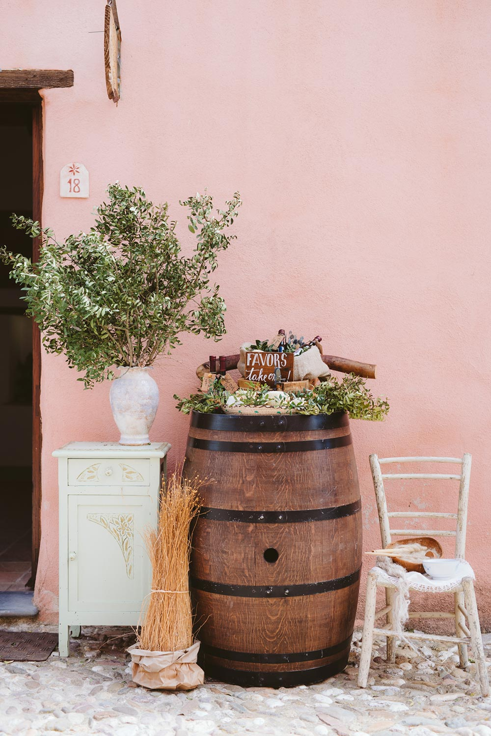 rustic chic wedding favor display on naked barrel