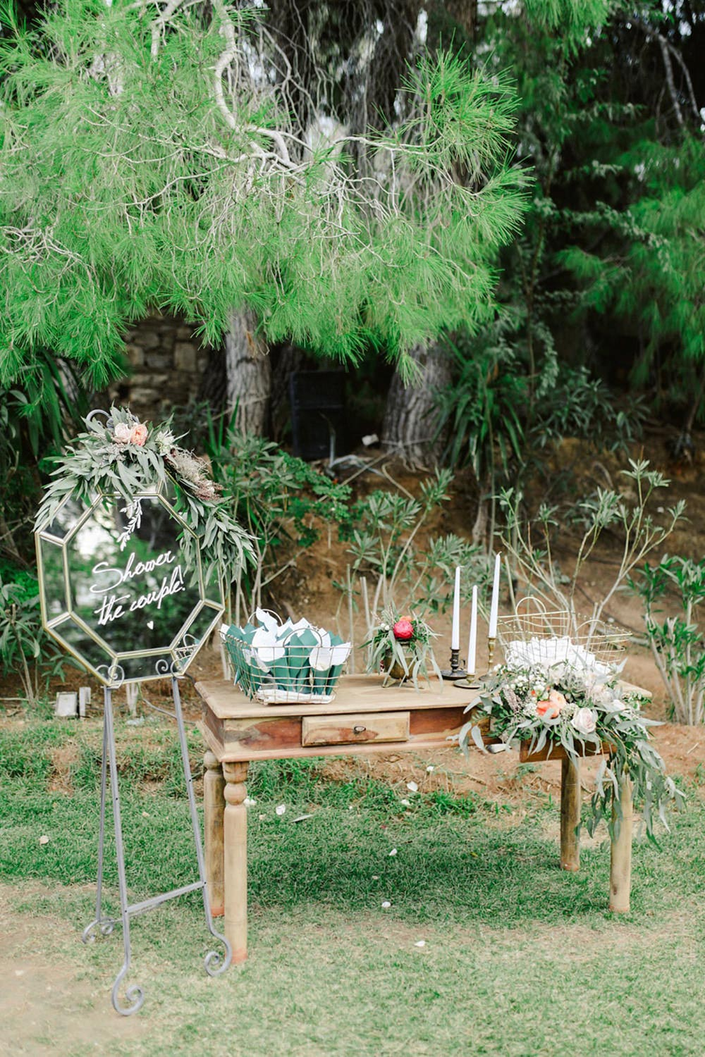 olive branch wedding guestbook table
