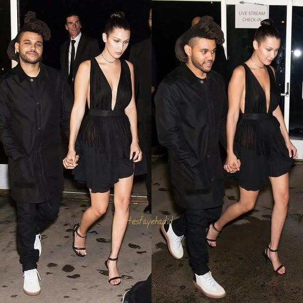 The-Weeknd-and-Bella-Hadid-600x600 Celebrities Couples Matching Outfits–25 Couples Who Nailed It