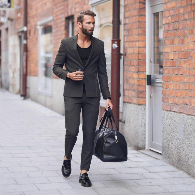 Semi-Casual-Grey-Suit-with-Black-Shoes 30 Best Charcoal Grey Suits with Black Shoes For Men