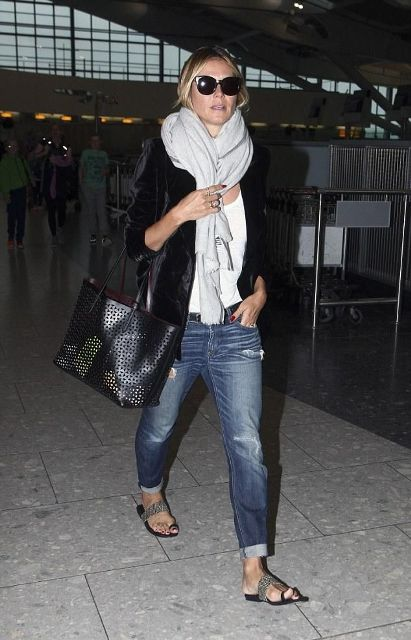 With white t-shirt, white scarf, black jacket, tote and jeans