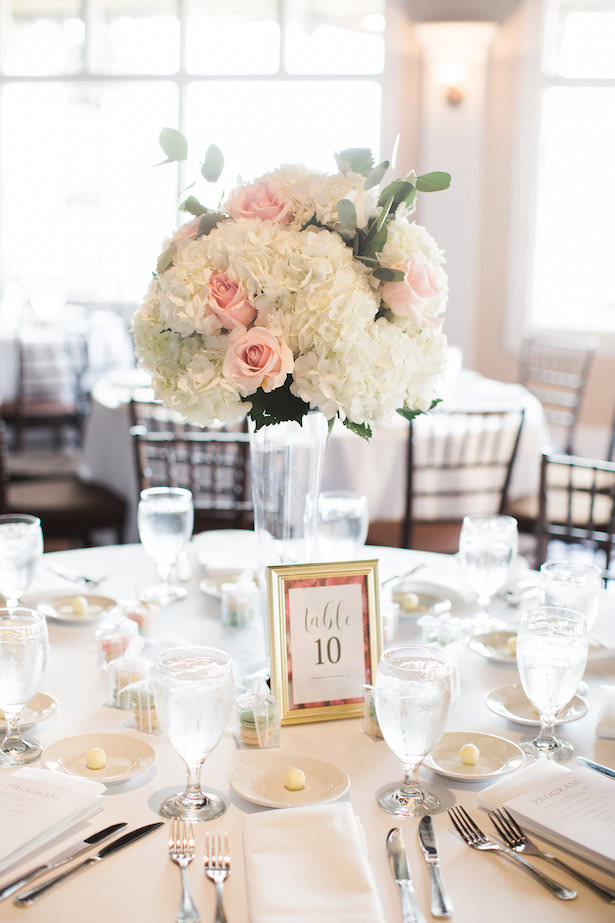 Tall wedding center piece with white hydrangeas and pink roses - Brooke Images
