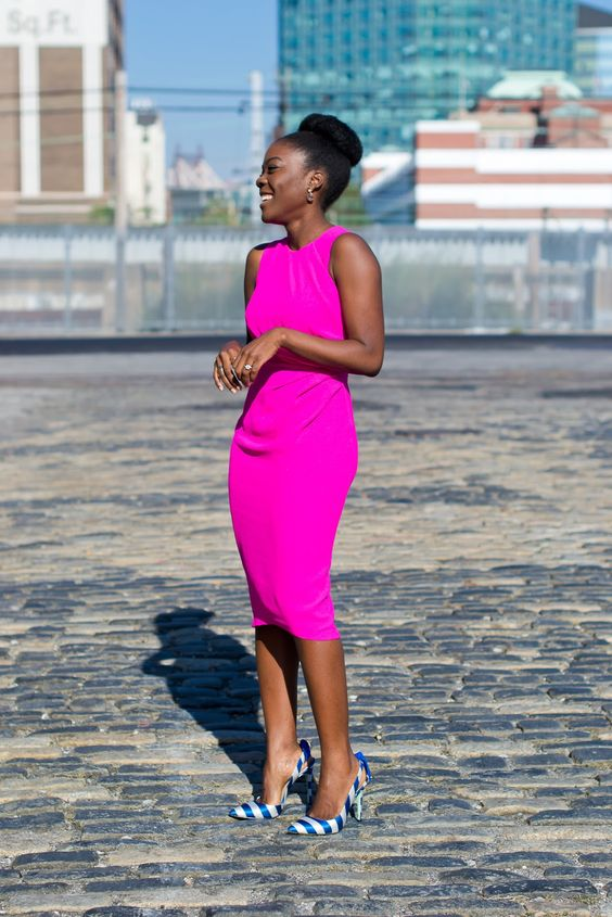 a hot pink fitting sleeveless midi dress, striped shoes for a chic lok