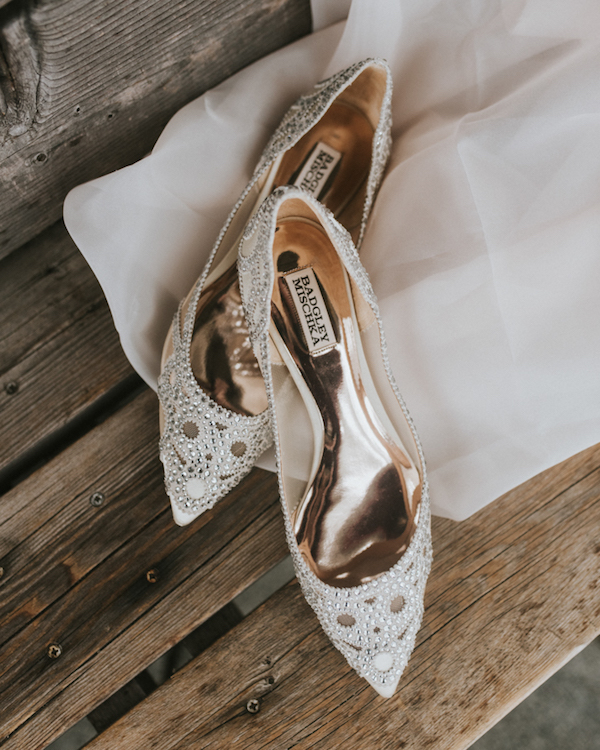 The bridal shoes were glam embellished ones