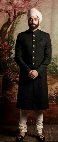 Traditional-Black-Sherwani-204x500 27 Latest Engagement Dresses for Men in India