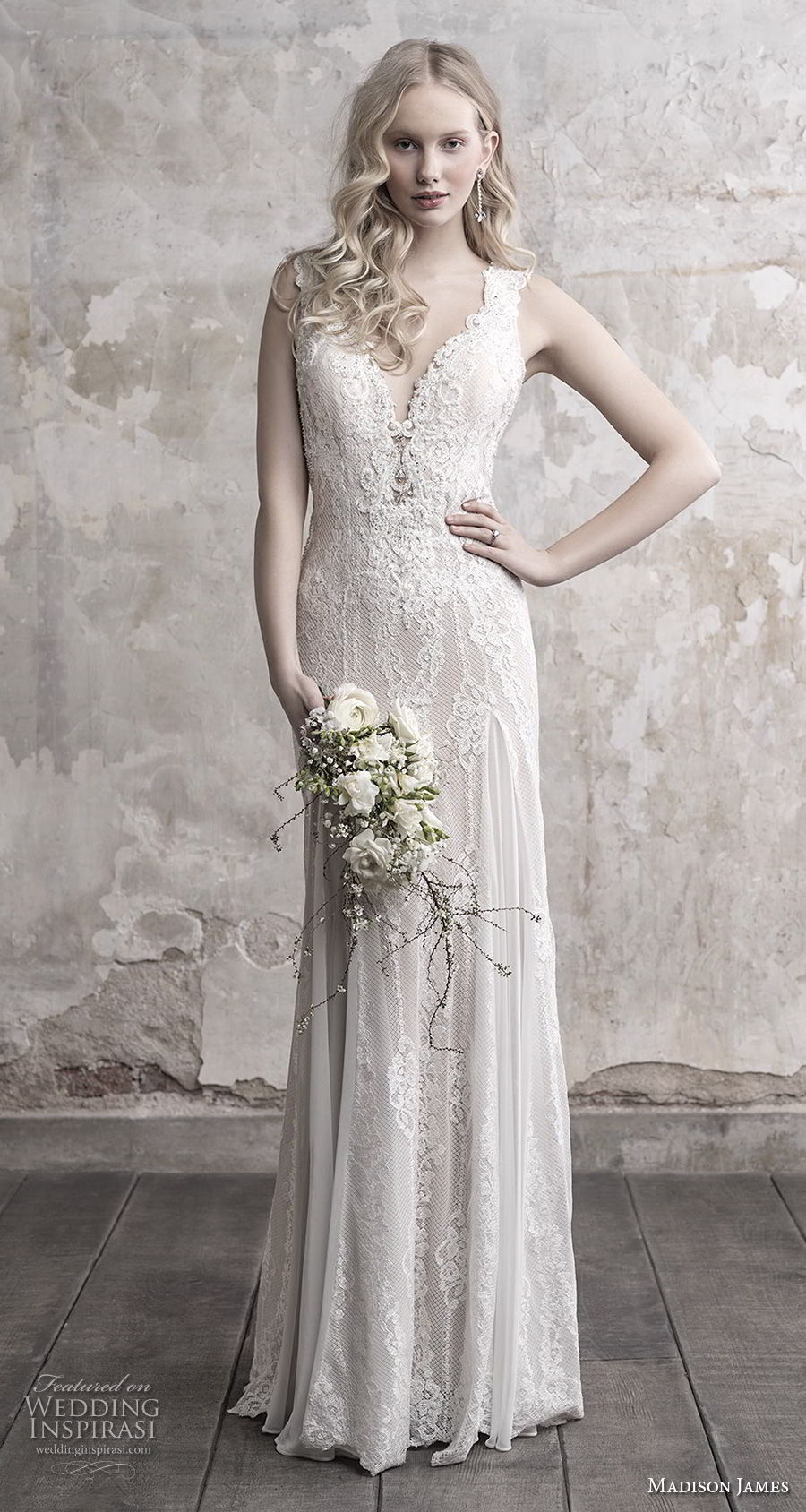 madison james fall 2018 bridal sleeveless thick strap deep sweetheart neckline elegant sheath wedding dress sheer button back chapel train (15) mv