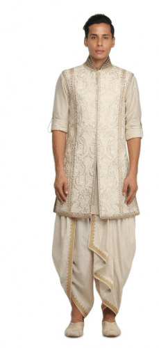 Sleeveless-sherwani-with-dhoti-229x500 27 Latest Engagement Dresses for Men in India