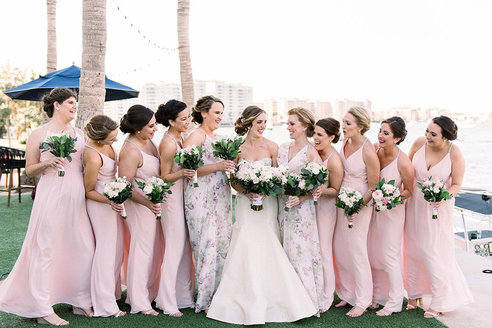 pink bridesmaid dresses and floral patterned MOH dresses