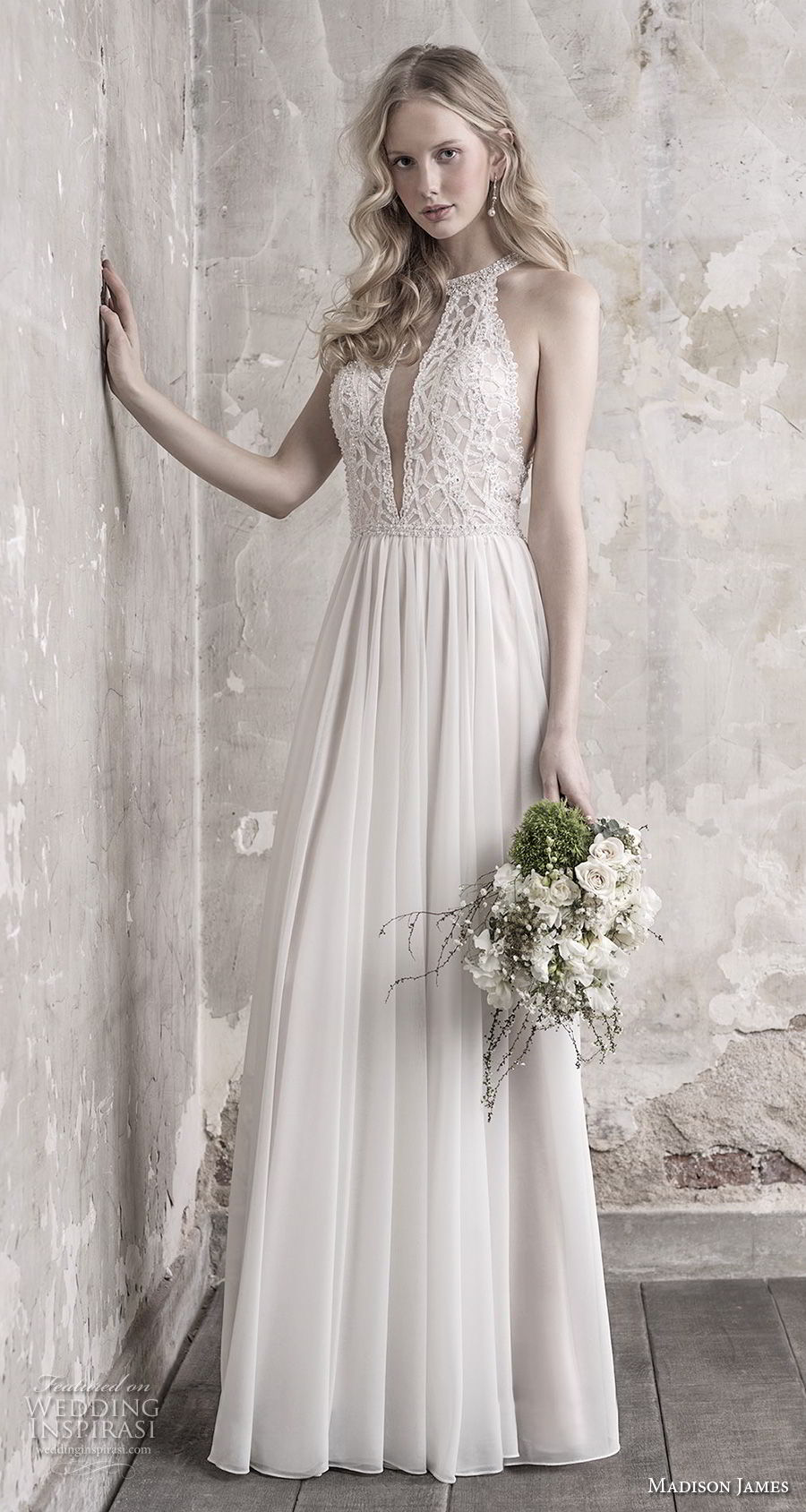 madison james fall 2018 bridal sleeveless halter jewel neck heavily embellised bodice pleated skirt romantic modified a line wedding dress lace back chapel train (5) mv