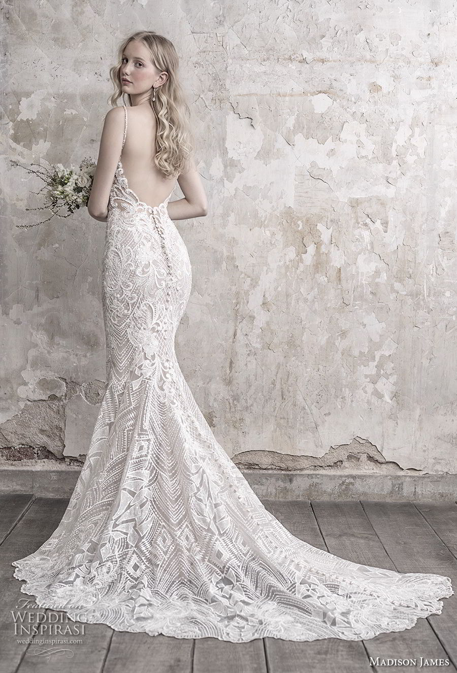 madison james fall 2018 bridal spaghetti strap sweetheart neckline full embellishment elegant sheath wedding dress open back chapel train (4) bv
