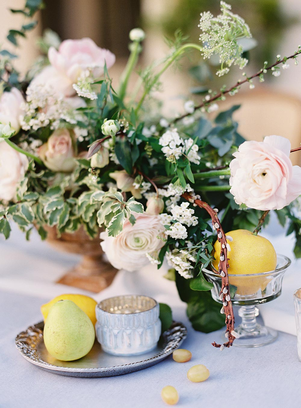 pale blue and pastel pink al fresco wedding centerpiece