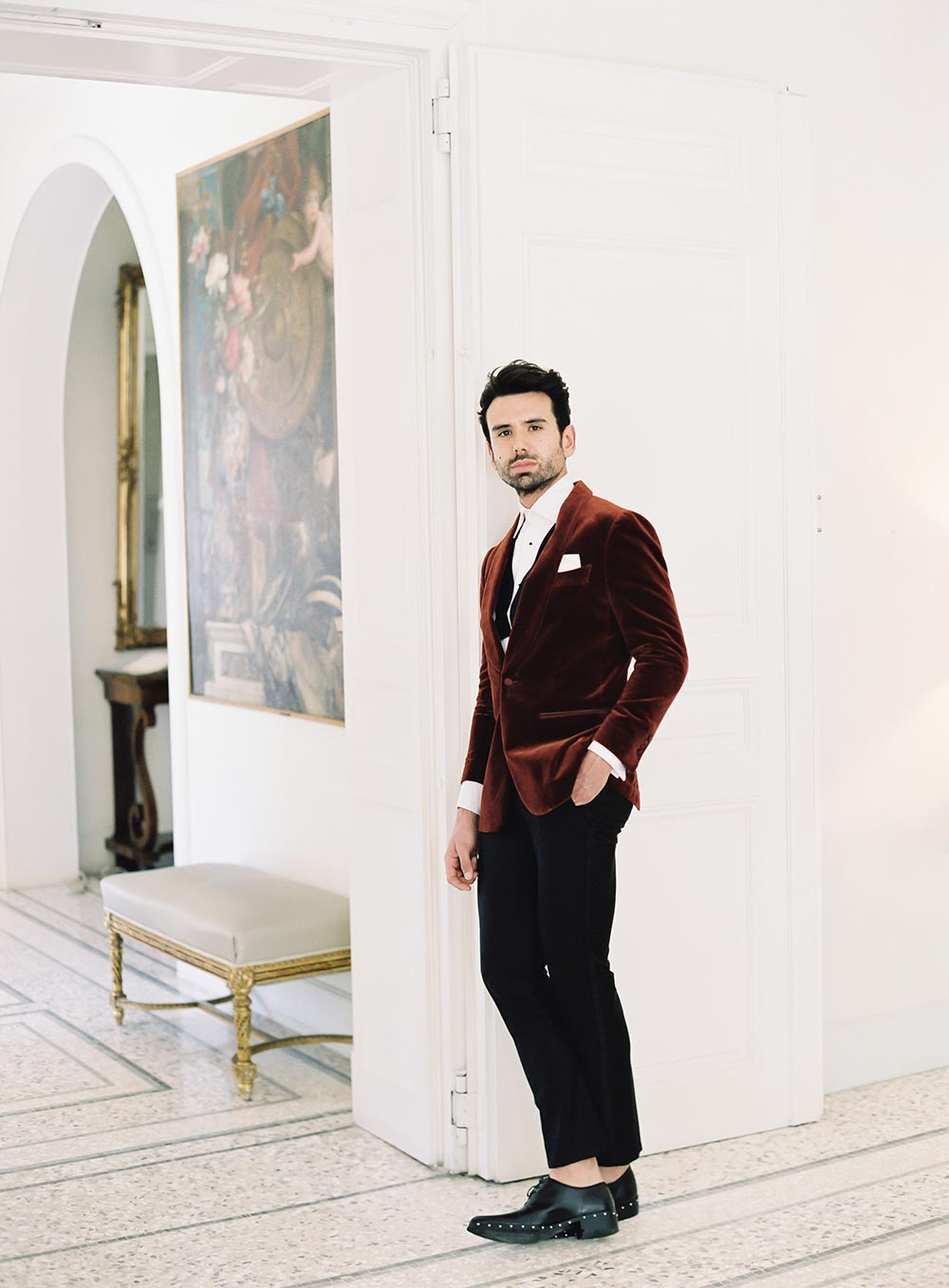 burnt orange velvet groom suit