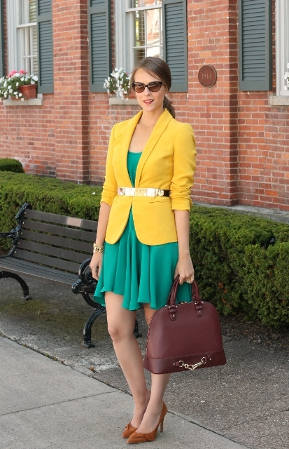 With green dress, yellow blazer, suede shoes and brown bag