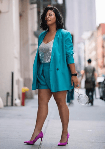 the-power-suit-353x500 How to Wear Shorts for Plus Size–20 Plus Size Shorts Outfits