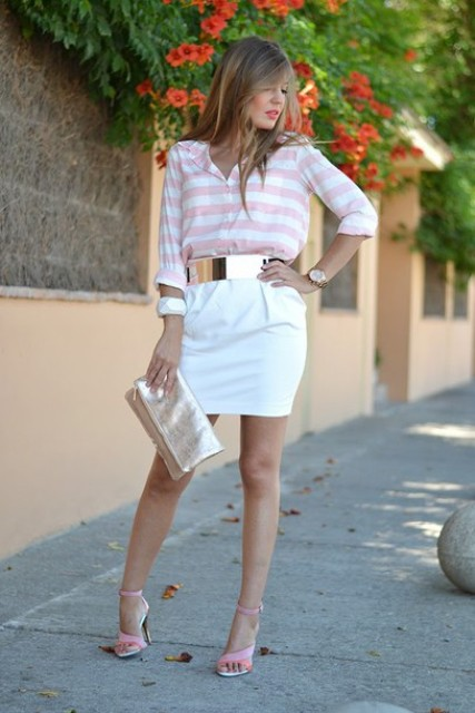 With striped shirt, white mini skirt, pale pink shoes and metallic clutch