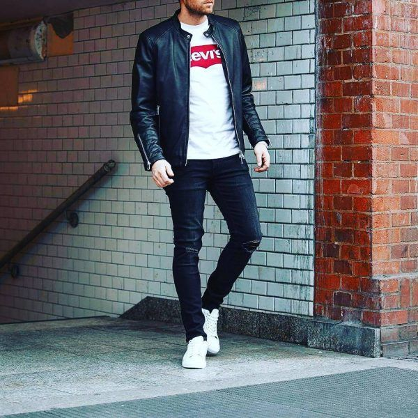 Black-leather-jacket-600x600 25 Outfits to Wear with White Sneakers for Men