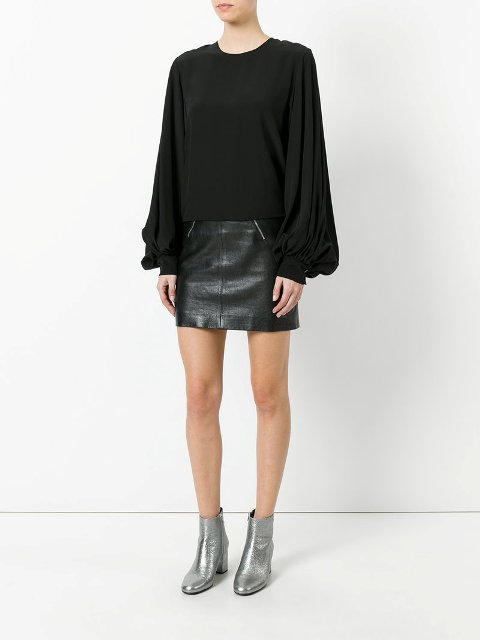 With black leather mini skirt and silver ankle boots
