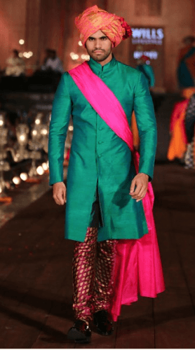 Silk-Sherwani-with-contrasting-colors-278x500 27 Latest Engagement Dresses for Men in India