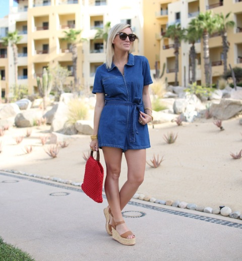 With red tote and platform sandals
