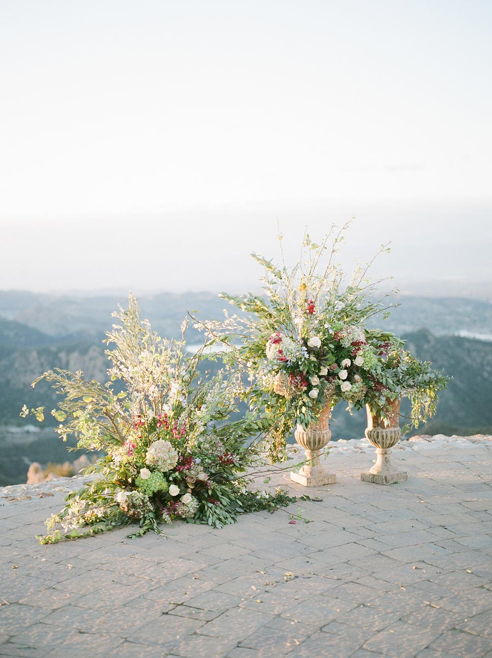 helipad wedding ceremony flowers