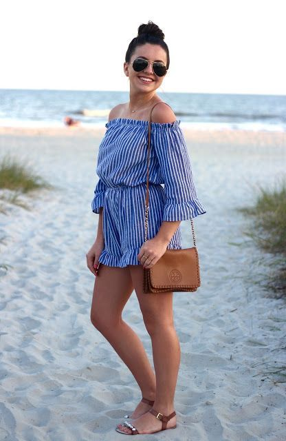 an off the shoulder blue striped romper with ruffles is a cute and girlish idea