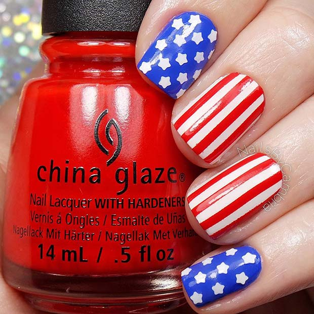 Patriotic Stars and Stripes Nails