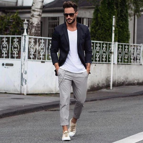 Faded-Jeans-and-a-Smart-Blazer-600x600 25 Outfits to Wear with White Sneakers for Men