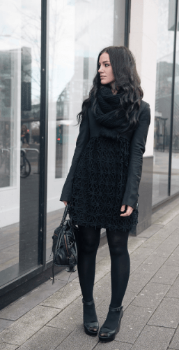 Crochet-Dress-with-Leggings-257x500 How to Wear Leggings Under a Dress- 24 Legging Outfit Ideas