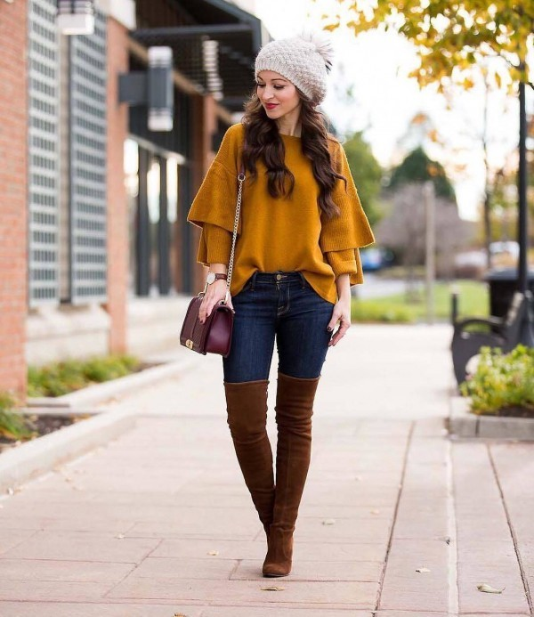 11-6-600x693 20 Best Outfits with Mustard Sweaters for Women in 2018