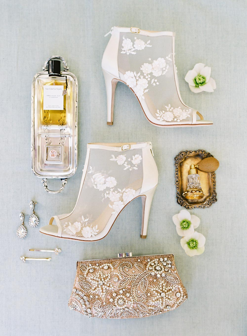 sheer appliqued bridal heels and accessories