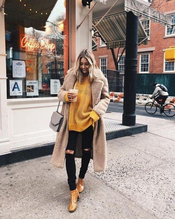 8-6 20 Best Outfits with Mustard Sweaters for Women in 2018