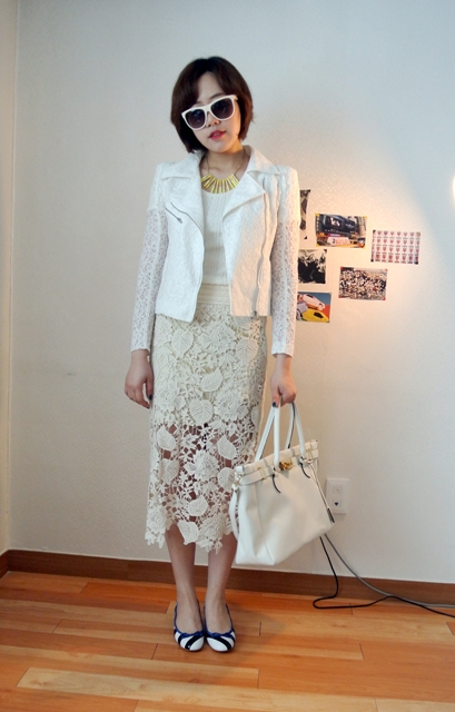 With white top, lace midi skirt, white jacket and bag