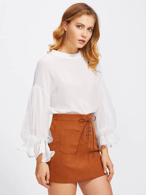 With brown suede skirt