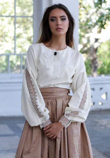 With beige A-line skirt