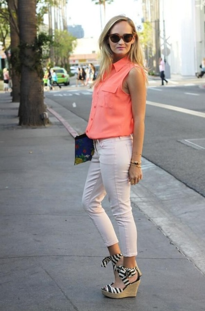 With blouse, crop pants and clutch