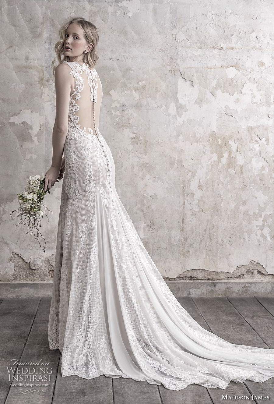 madison james fall 2018 bridal sleeveless thick strap deep sweetheart neckline elegant sheath wedding dress sheer button back chapel train (15) bv