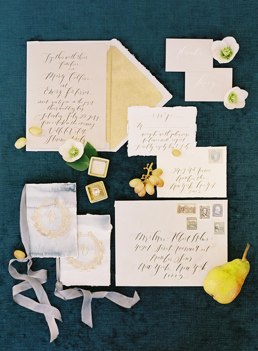 fine art wedding paper goods with handwritten calligraphy and silk ribbons