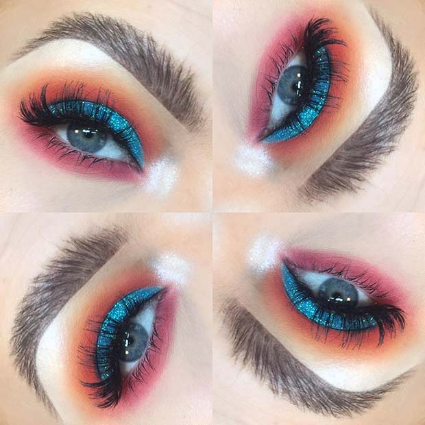 Colorful Eye Makeup Look for Summer