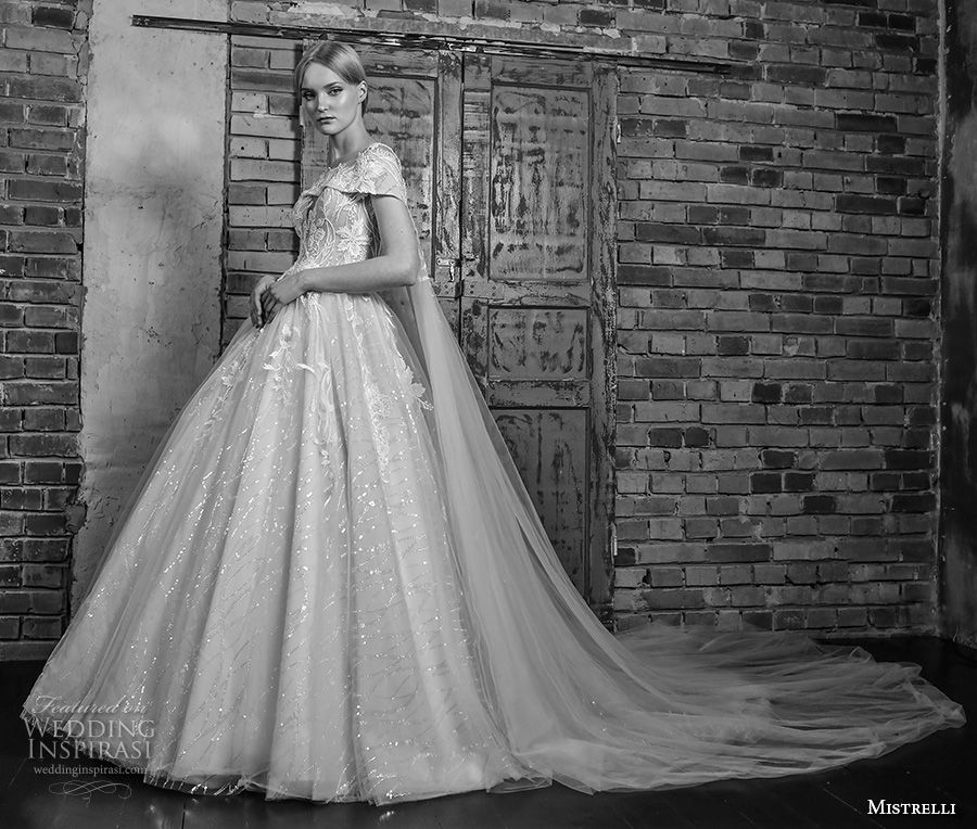 mistrelli 2019 bridal cap sleeves sweetheart neckline heavily embellished bodice romantic princess ball gown a line wedding dress with cape lace back chapel train (6) mv