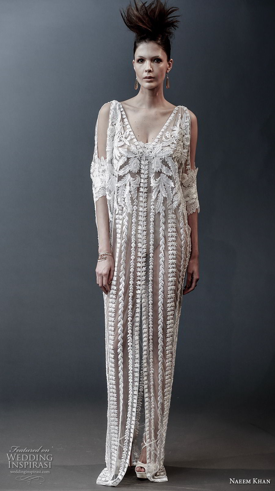 naeem khan spring 2019 bridal half sleeves v neck full embellishment slit skirt modern bohemian column wedding dress v back sweep train (7) mv
