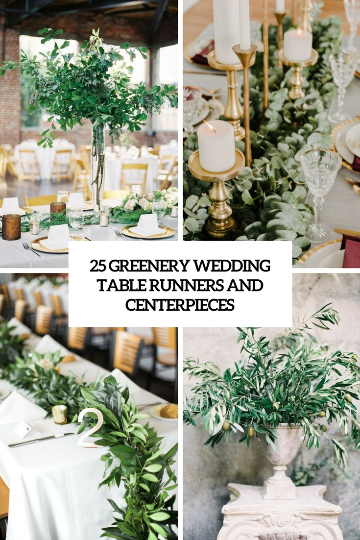 25 Greenery Wedding Table Runners And Centerpieces | Wedding