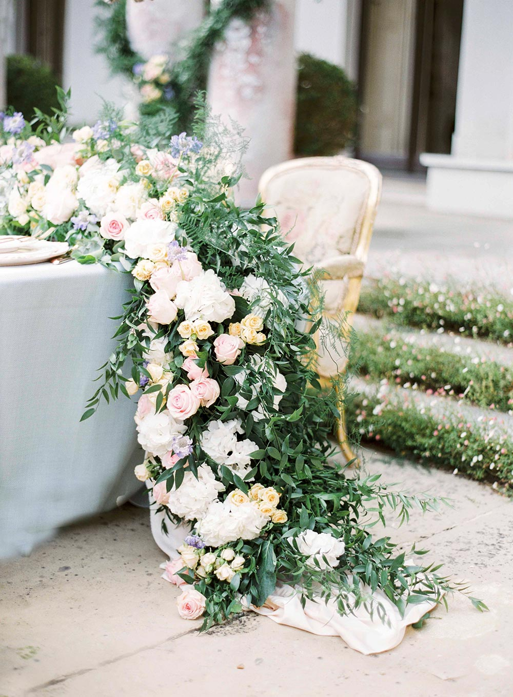 lush wedding garland spring pastel flowers